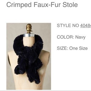 Anthropologie Faux-Fur Stole Crimped Navy SCARF